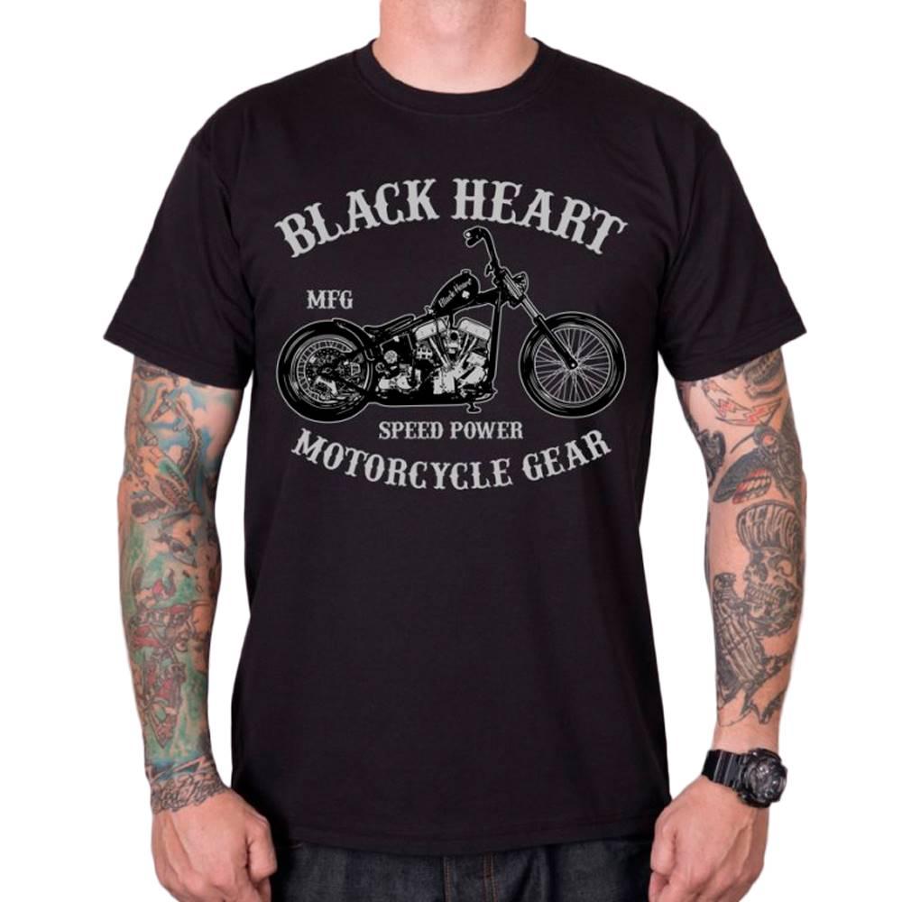 BLACK HEART Tričko BLACK HEART Chopper čierna - M