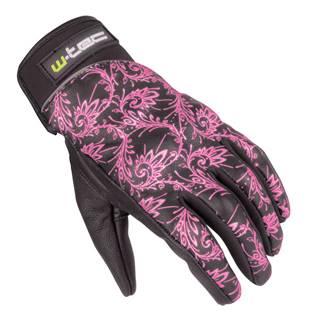 Dámske kožené moto rukavice W-TEC Malvenda NF-4208 čierna s ružovou grafikou - XS