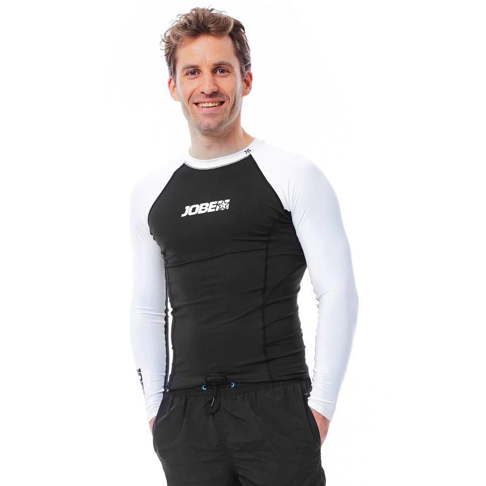 JOBE Pánske tričko pre vodné športy Jobe Rashguard s dlhým rukávom čierno-biela - S
