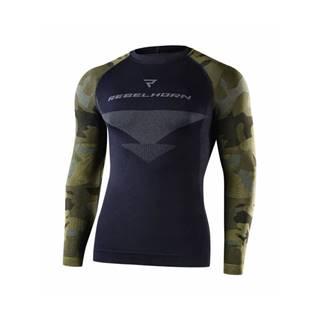 Moto thermo tričko Rebelhorn Freeze Jersey LS čierna-kamufláž - XS